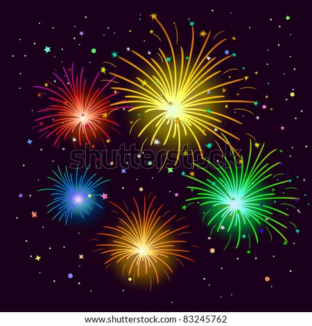 Various celebratory firework against the black sky, vector