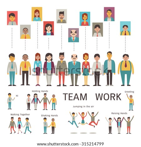 Various character of businesspeople in concept of teamwork, partnership, togetherness, company. Multi-ethnic, diverse, male and female. Flat design in simple style.