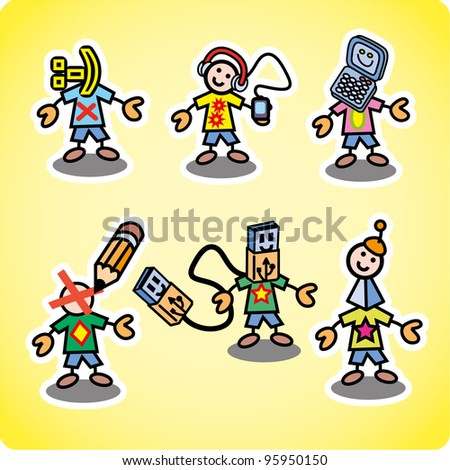 Various characters about kids and teenager life. Set of nine different ones