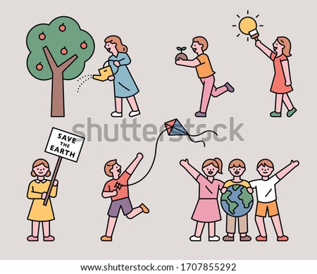 various children's actions to