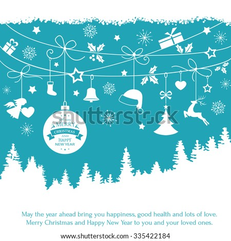 Various Christmas ornaments such as Christmas bauble, santa hat, reindeer, angel, heart, present, Christmas tree and embellishments hanging over a landscape of fir trees on a blue backdrop.