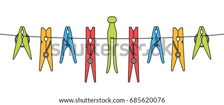 Various clothes or laundry pins set on the rope isolated