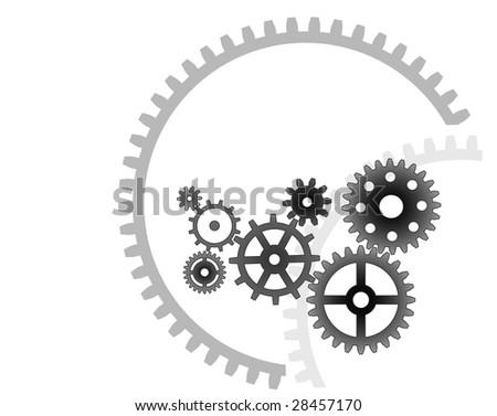 Various cogwheels, vector, industrial background