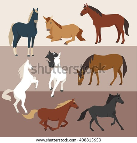 Various color horses Various poses vector design