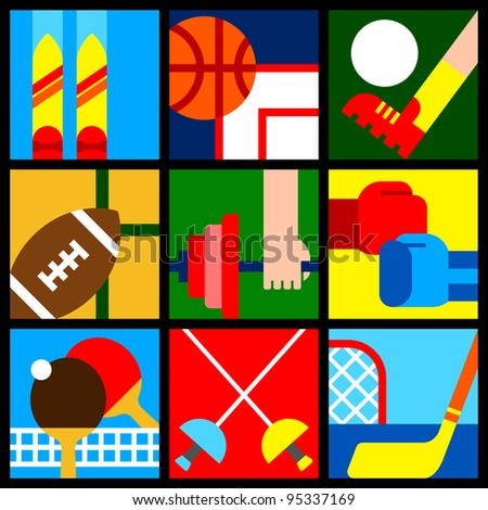 various colorful sport symbols
