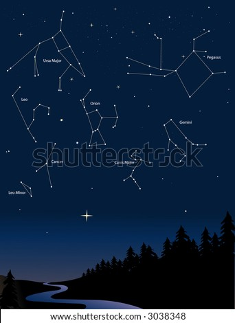 various constellations in a starry night sky - stock vector
