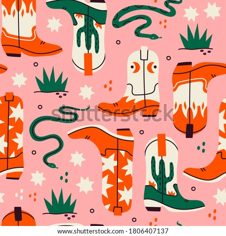 Various cowboy boots. Different ornaments. Wild West fashion style. Rattlesnake viper, stars, cactus, grass. Hand drawn colored Vector seamless Pattern. Pink Background, wallpaper ストックフォト ©