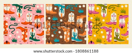 Various cowboy boots. Different ornaments. Wild West fashion style. Rattlesnake viper, stars, cactus, grass. Set of three isolated Hand drawn colored Vector seamless Patterns. Backgrounds, wallpapers Foto stock ©