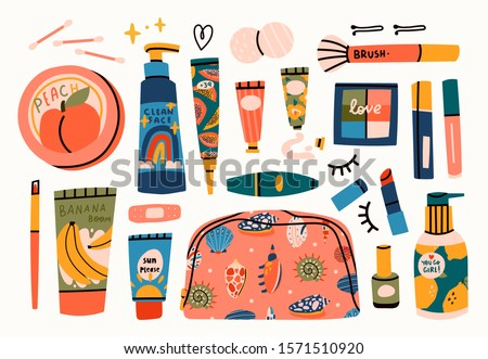 Various creams, lipstick, lotion, nail polish, mascara, sponge. Face and body care concept. Cleansing, moisturizing, treating. Hand drawn vector set. Trendy illustration. All elements are isolated