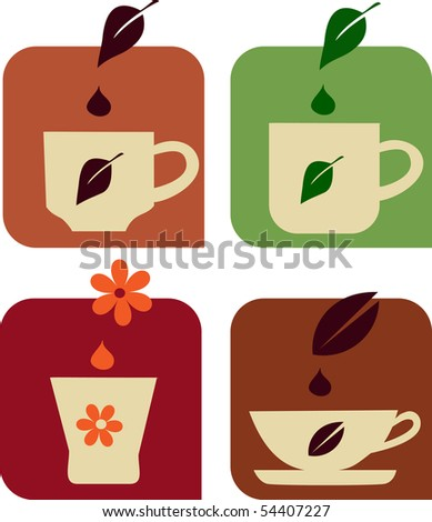 various cups of tea, vector icon set
