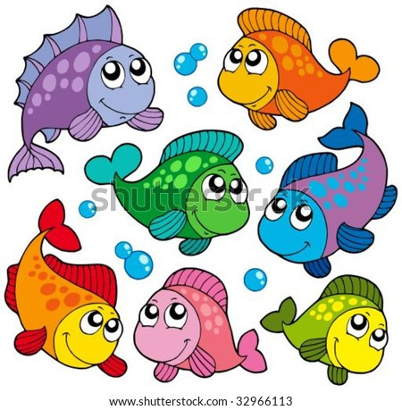 Various cute fishes collection 2 - vector illustration.