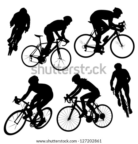 Various cycling poses in black and white silhouettes. Different angle views of cyclists from men and women.
