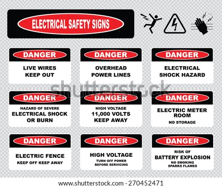 various danger sign, electrical safety signs (live wires, overhead power lines, electrical shock hazard, high voltage, meter room no storage, electric fence, turn off power, risk of battery explosion