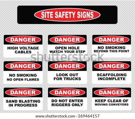 Royalty free various danger sign site safety signs 256958620 various danger sign site safety signs high voltage cables open hole watch your sciox Gallery