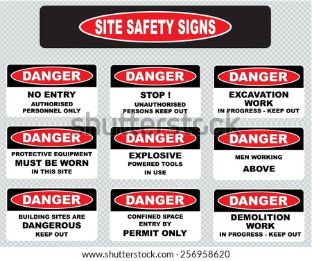 various danger sign  site