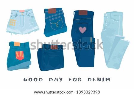 67a41f44ae7e8 Various denim jean clothes. Shorts, skirt, jeans pants. Hand drawn vector  set