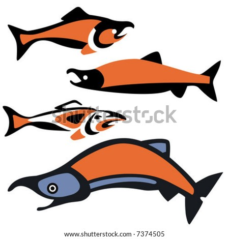 Various depictions of sockeye salmon, drawn in a Pacific Northwest native style.