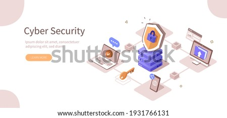 Various Devices Secure Connected to Data Center with Cloud Computing Technology. Cyber Security and Personal Data Protection Concept. Flat Isometric Vector Illustration.