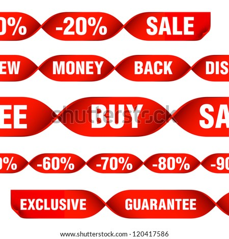 various discount tags and labels