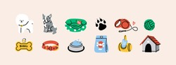 Various Dog Supplies and Equipment. Food, toys, home, collar, leash, tag, bone. Pet shop or store concept. Hand drawn colorful icons. Trendy Vector illustration. All elements are isolated