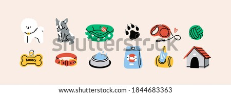 Various Dog Supplies and Equipment. Food, toys, home, collar, leash, tag, bone. Pet shop or store concept. Hand drawn colorful icons. Trendy Vector illustration. All elements are isolated Сток-фото ©