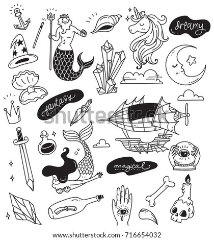 Various doodle set isolated on white