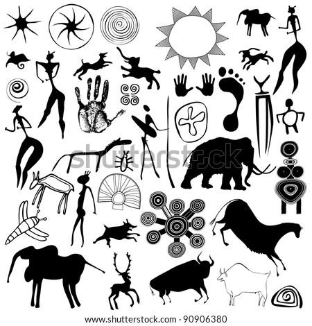 Various drawings - primitive art - cave paintings - vector