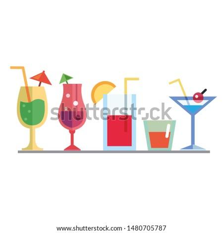 various drinks in various glasses