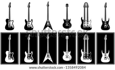 various electric guitars set vector illustration monochrome