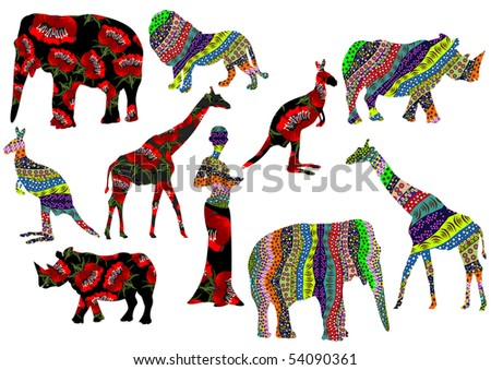 stock vector : various elements of Africa on a white background in traditional style