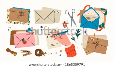 Various Envelopes with mail, postmarks, Postcards. Different objects, Craft paper, scissors, twine, sealing wax, handmade cards, confetti. Hand drawn Vector set. All elements are isolated