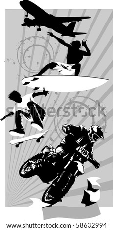 various extreme sports on a