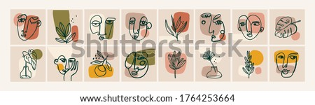 Various Faces, Leaves and Flowers, Abstract shapes. Ink painting style. Contemporary Hand drawn Vector illustrations. Continuous line, minimalistic elegant concept. All elements are isolated