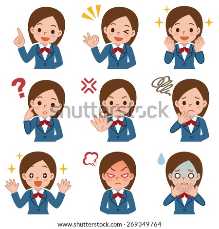 various facial expressions set