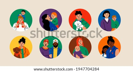 Various Families. Family portraits. Social media Round icons or avatars. Hand drawn colored Vector illustrations. Parents, children, relatives, friends, partners. Togetherness, parenting concept