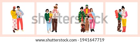 Various Families. Set of family portraits. Poster or card templates. Hand drawn colored Vector illustrations. Parents, children, relatives, friends, partners. Togetherness, parenting concept