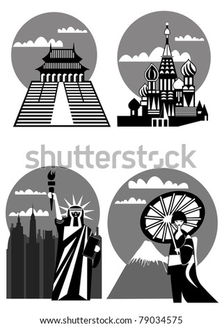 various famous landmarks and monuments - Japan, New York, Far East, Moscow