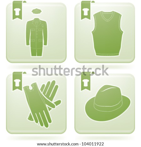 Various fashion icons (from left to right, top to bottom): Uniform, Vest, Gloves, Mens Hat
