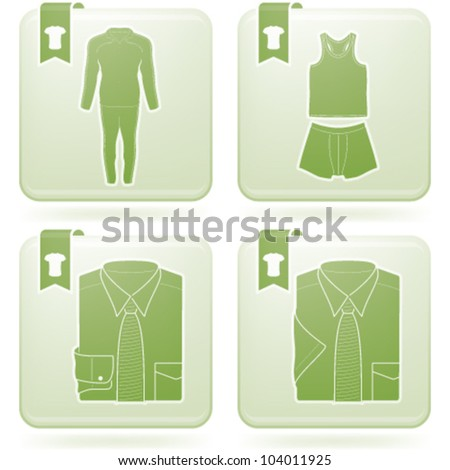 Various fashion icons (from left to right, top to bottom): Warm Up Suite, Under Graments - Mens T-shirt / Boxers, Dress Shirt - Mens Long Sleeve, Dress Shirt - Mens Short Sleeve