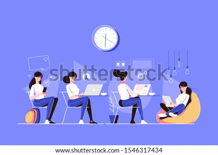 Various female character poses vector illustration. Woman sitting with smarphone and chatting, working and messaging on pc and surfing internet on tablet flat style concept