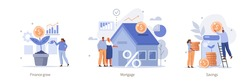 Various Finance Icons. People Buying Home with Mortgage,  Growing Money Tree, Making Savings. Investment and Finance Management Concept. Flat Cartoon Vector Illustration.