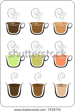 Various flavors of coffee and tea in cups and glasses.
