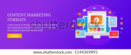 Various formats of content marketing, forms of content content marketing vector concept isolated on blue background