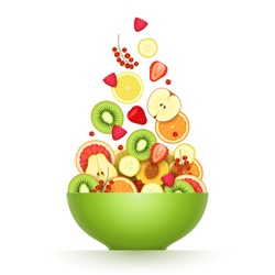 Various fresh ripe fruits and berries are falling in large green bowl over white background. Salad cooking, raw food diet, low calorie products, vegetarian food concept