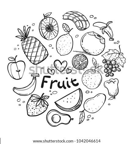 Various fruit sketch