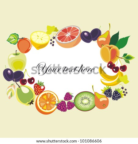 Various Fruits  border - vector illustration on white background