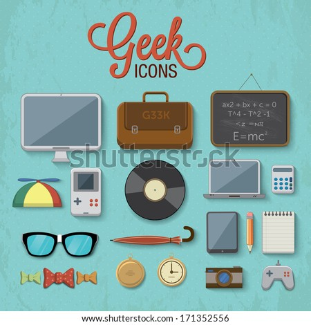 various geek icons vector