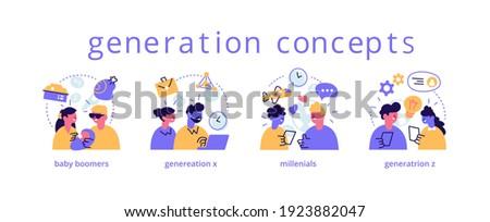 Various generations vector representation set. Baby boomers, millennials, generation x, z types. Social groups, age gap, different goals, lifestyle concept. Cartoon icons flat design illustration set Foto stock ©
