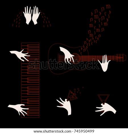 various gestures of human hands