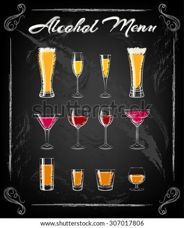 various glasses chalkbord
